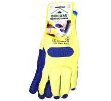 4502 Долоні рукавички трикотажніз латексним покриттям, подвійний облив, синій, розмір 10